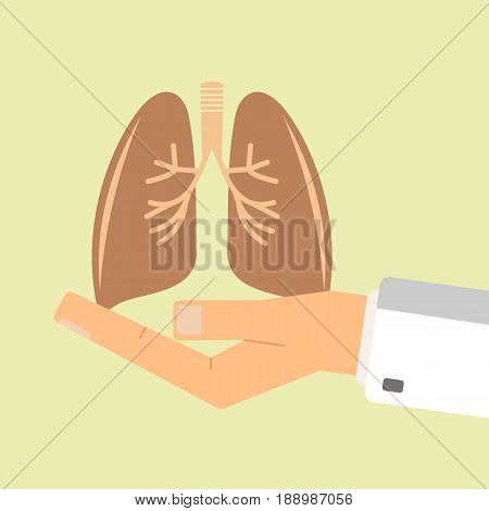 The doctor hand holding human lungs. Healthcare concept. vector illustration.