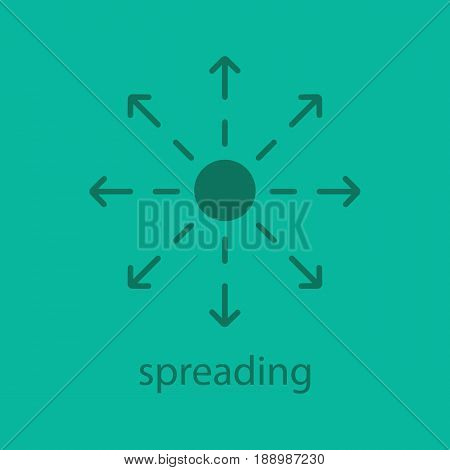 Spreading glyph color icon. Silhouette symbol. Distribution abstract metaphor. Negative space. Vector isolated illustration