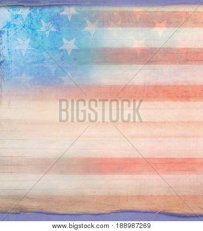 Grungy american flag frame background , raster