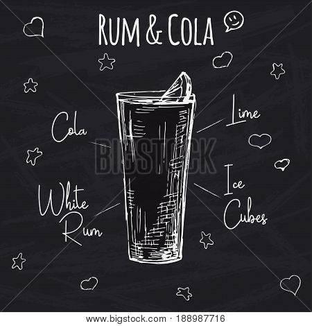 Simple recipe for an alcoholic cocktail Rum Cola. Drawing chalk on a blackboard. Vector illustration of a sketch style.