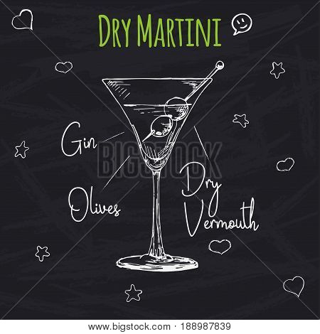 Simple recipe for an alcoholic cocktail Dry Martini. Drawing chalk on a blackboard. Vector illustration of a sketch style.