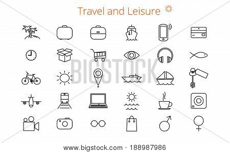 Set of thirty vector flat line icons for a site or booklet about travel and leisure.