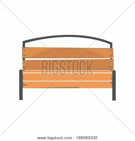 Wooden outdoor bench, urban infrastructure element vector Illustration isolated on a white background