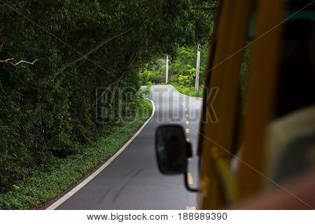 An asphalted winding road in a dense rainforest with lumens through the trees through which sunlight penetrates the view from the bus window
