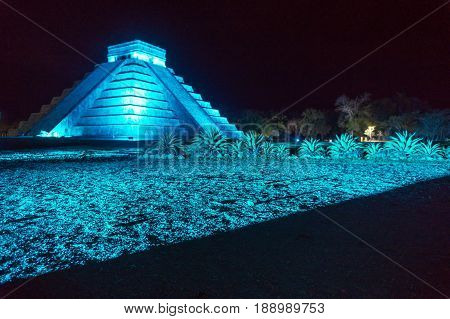 Night time view of the Mayan ruins of Chichen Itza in Mexico