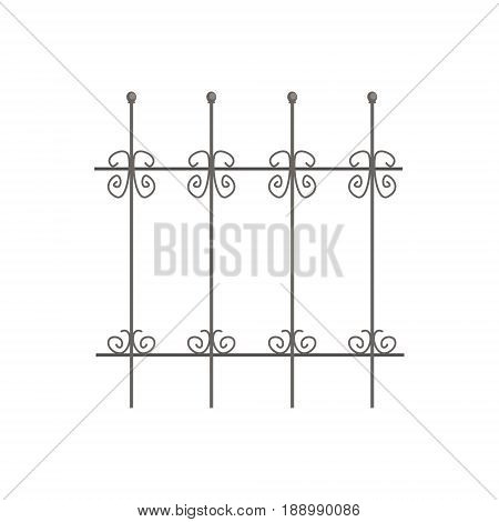 Decorative iron fence for park or garden vector Illustration isolated on a white background