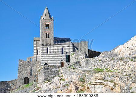 San Pietro Church in Portovenere at italian Riviera,Liguria,Italy