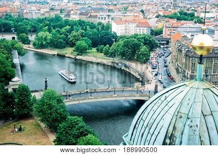 BERLIN GERMANY JUL 02 2000: Spree River in the inner city of Berlin capital of Germany Europe on Jul 02 2000 in Berlin Germany Europe