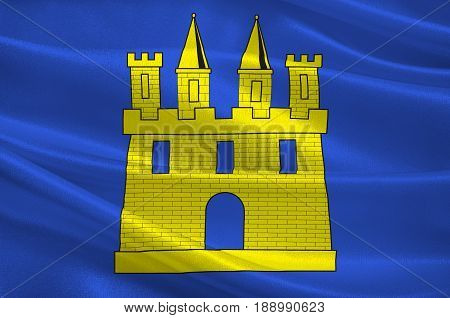 Flag of Gap is a commune in southeastern France the capital and largest town of the Hautes-Alpes department. 3d illustration