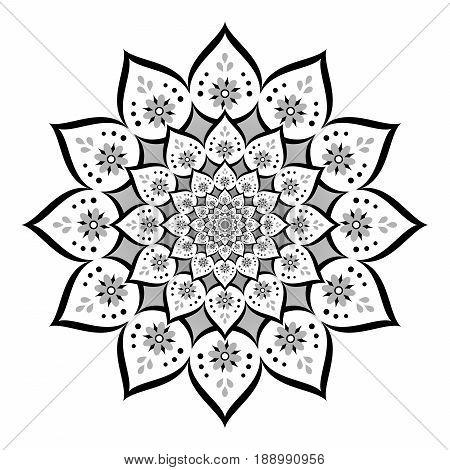 Abstract mandala, Flower isolated on white background, White and black ornate bloom, Esoteric petal mandala