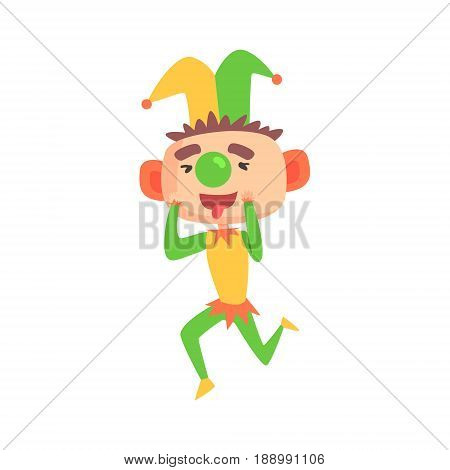 Funny cartoon clown in a jester hat with green nose colorful cartoon character vector Illustration isolated on a white background