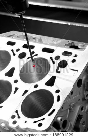 Repair motor block of cylinders operator inspection dimension aluminium automotive part by CMM after machining in industrial factory