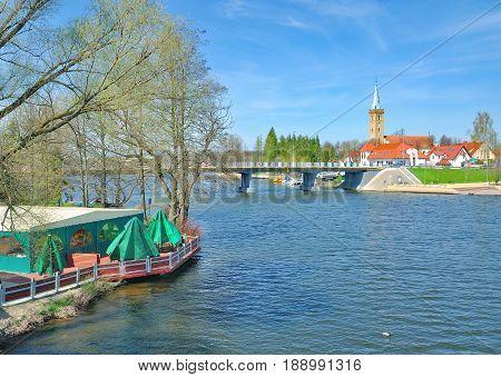 Village of Mikolajki in Masuria at Lake Spirding,Poland