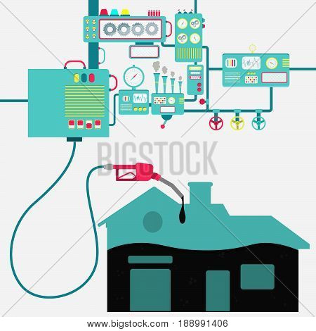 Machinery of factory refining oil and refueling a house. House shape being filled by a oil with gas pump.