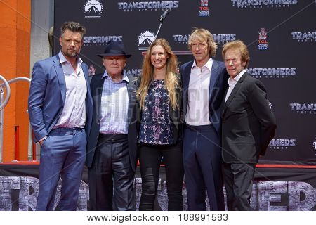 LOS ANGELES - MAY 23:  J Duhamel, A Hopkins, A Kushner, Michael Bay, Jerry Bruckheimer at the Michael Bay Hand And Footprint Ceremony at the TCL Chinese Theater IMAX on May 23, 2017 in Los Angeles, CA