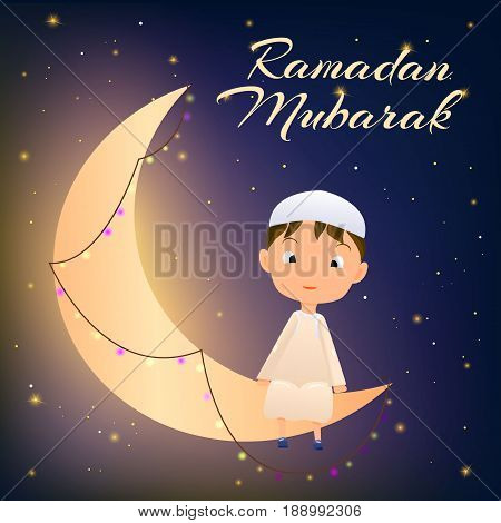 Ramadan Kareem greeting card for Muslim Celebration Ramazan.Happy Muslim Kid on Moon Crescent Card with wish words Ramadan Mubarak.Crescent Night Ramazan, Garland and Smiling Muslim Child in Djellaba.