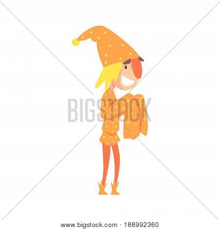 Funny jester in an orange medieval costume colorful cartoon character vector Illustration isolated on a white background