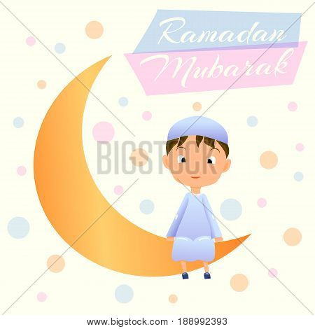 Ramadan Kareem Greeting Card For Muslim Celebration RamazanHappy Boy On Moon Crescent