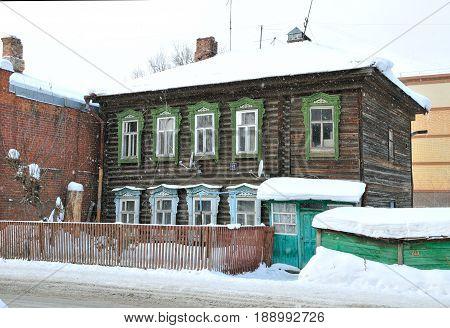 Kazan, Tatarstan, Russia - February 1, 2017. An old wooden house.  Volkov Street.