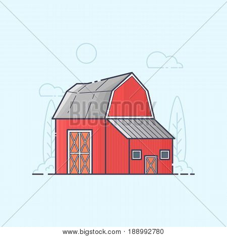Vector illustration of farm barn. Color line art