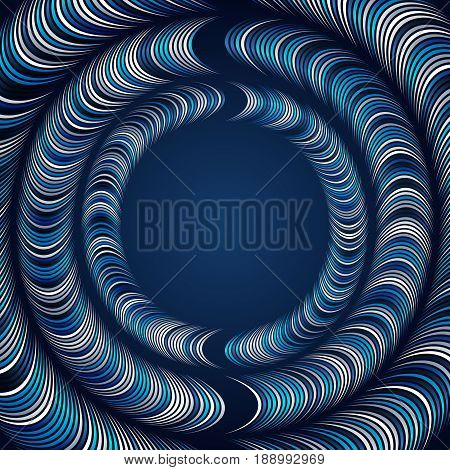 Abstract background with rings of distorted geometric shapes. The distortion of shapes and space. Space for the text in the middle of the field.