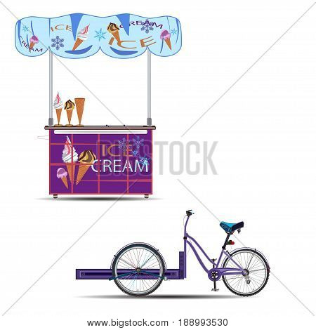 Vector illustration of tricycles ice cream bike and sales stand isolated on white background. Mobile ice cream bike business template flat style design elements.
