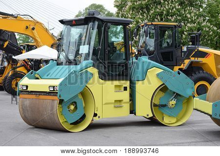 road roller with two drums, a compactor type engineering vehicle