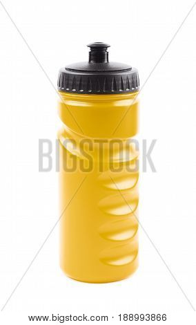 Yellow plastic sport water bottle isolated over the white background