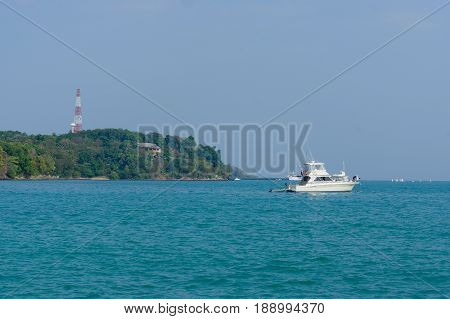 a beautiful landscape sea near bridge pier at beach of Laem Panwa Cape famous attractions in Phuket island, Thailand