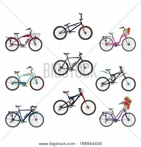 Vector set of bicycles. Modern bmx city touring mountain bikes flat style design elements isolated on white background.