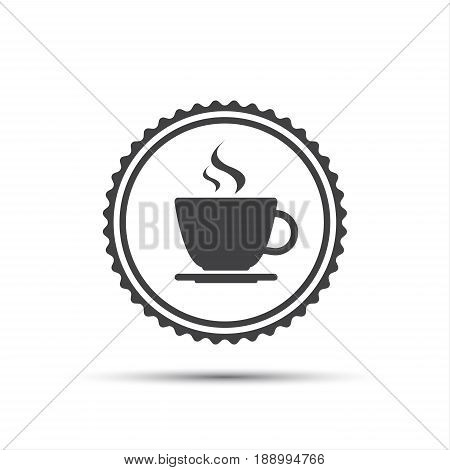Simple round vector icon of coffee cup round coffee label