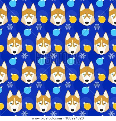 Winter Holiday Seamless Pattern Background. Husky Dog, Snow And Glass Ball.