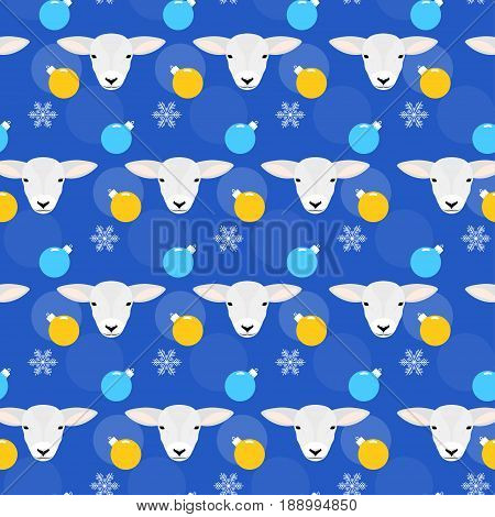 Winter Holiday Seamless Pattern Background. Lamb, Snow And Glass Ball.