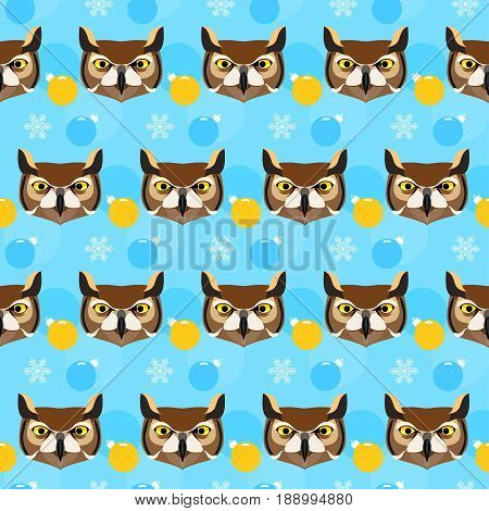 Owl Seamless Pattern. Winter Holiday Background.