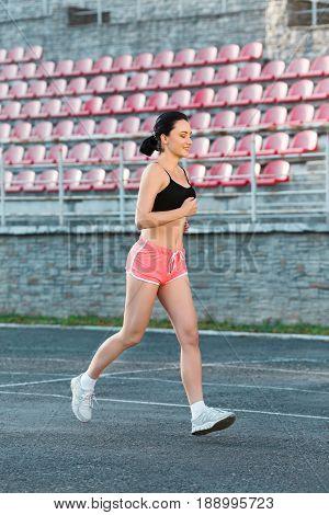 Full Body Of Girl Running