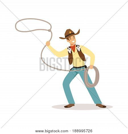 Man in American traditional costume with lasso western cartoon character vector Illustration isolated on a white background
