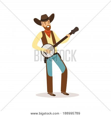 Smiling cowboy playing banjo western cartoon character vector Illustration isolated on a white background