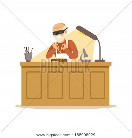 Senior man making jewelry in workshop, craft hobby or profession colorful character vector Illustration isolated on a white background