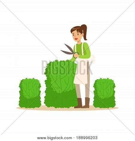 Young woman gardener working with hedge shear, craft hobby or profession colorful character vector Illustration isolated on a white background