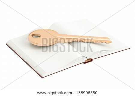 Opened blank book with golden key 3D rendering