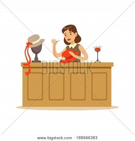 Young woman making hats, craft hobby or profession colorful character vector Illustration isolated on a white background
