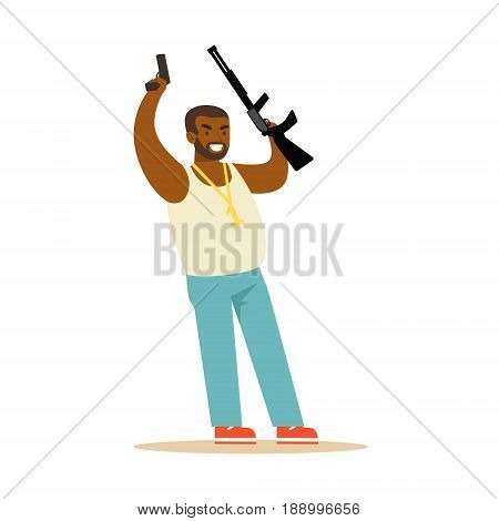 Black man raising his hands with guns to surrender, robbery colorful character vector Illustration isolated on a white background