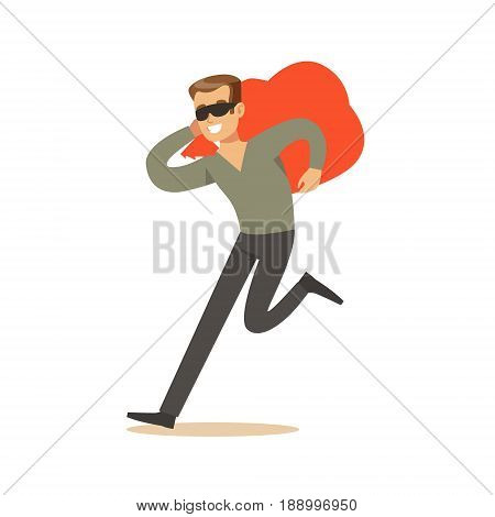 Thief in a black mask carrying an orange bag, robbery colorful character vector Illustration isolated on a white background