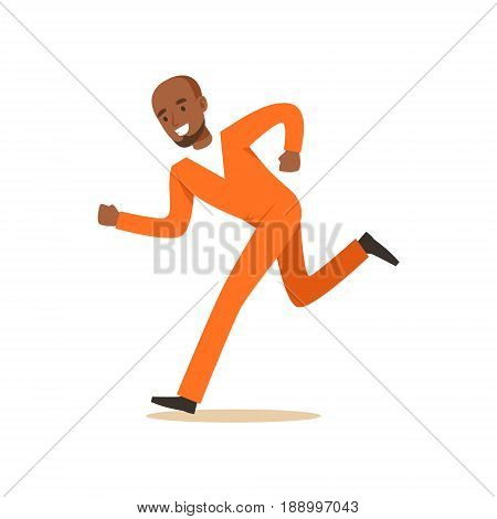 Criminal black man in an orange uniform is running colorful character vector Illustration isolated on a white background
