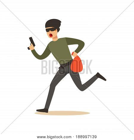 Thief in a mask running with a gun and a sack, robbery colorful character vector Illustration isolated on a white background