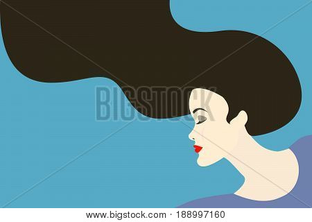 Vector illustration of woman with long dark brown hair