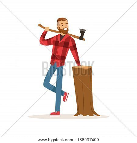 Smiling lumberjack with an axe and downed log colorful character vector Illustration isolated on a white background
