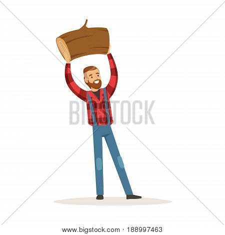 Smiling lumberjack man holding downed log colorful character vector Illustration isolated on a white background