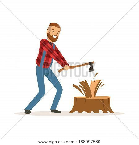 Lumberjack man in a red checkered shirt chopping wood with an axe colorful character vector Illustration isolated on a white background