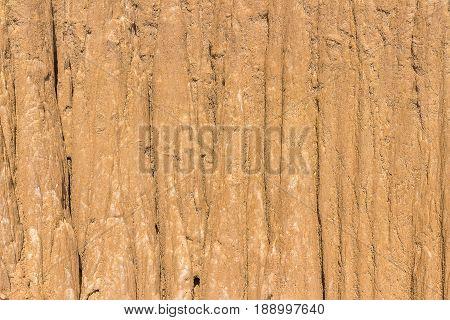 Close Up of eroded sandstone pillars or columns and cliffs at Sao Din Na Noi sri nan national parkNan provinceThailand